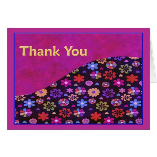 Groovy Retro Flower Power 60s 70s Thank You Greeting Cards