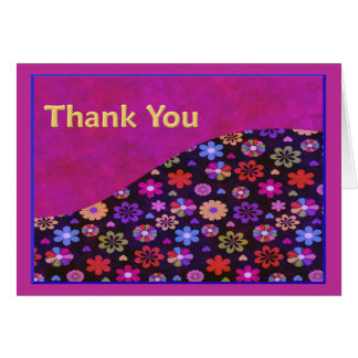 Groovy Retro Flower Power 60s 70s Thank You Greeting Card