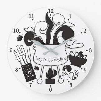 Groovy retro fondue pot food party kitchen clock