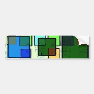 Groovy Retro Geometric Squares Bumper Stickers