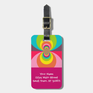 Groovy Retro Hippie Vintage Rainbow Kaleidoscope Luggage Tag