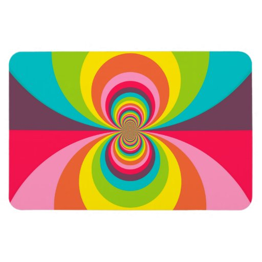 Groovy Retro Hippie Vintage Rainbow Kaleidoscope Rectangular Magnets