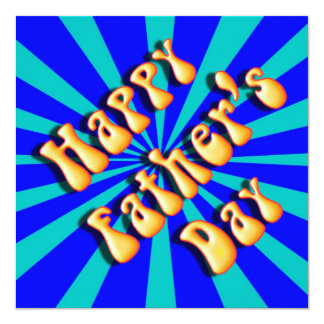 "Groovy Retro Light & Dark Blue Father's Day 5.25"" Square Invitation Card"