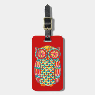 Groovy Retro Owl Luggage Tag