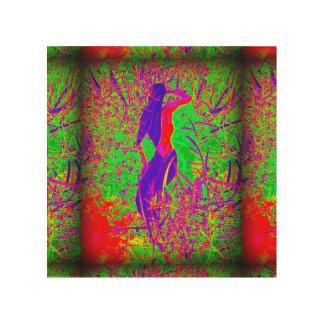 groovy retro purple hippie mermaid wood print