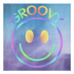 Groovy Retro Smiley Face Purple Pastels Poster