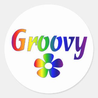 groovy round sticker