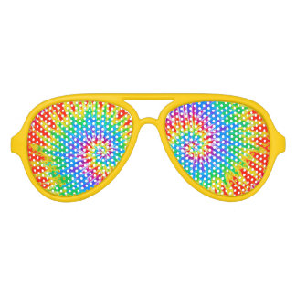 Groovy Spiral Rainbow Tie Dye Aviator Sunglasses