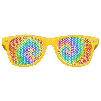 Groovy Spiral Rainbow Tie Dye Retro Sunglasses