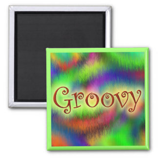 Groovy Square Magnet