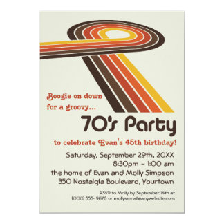 Groovy Stripes 70s Party Card