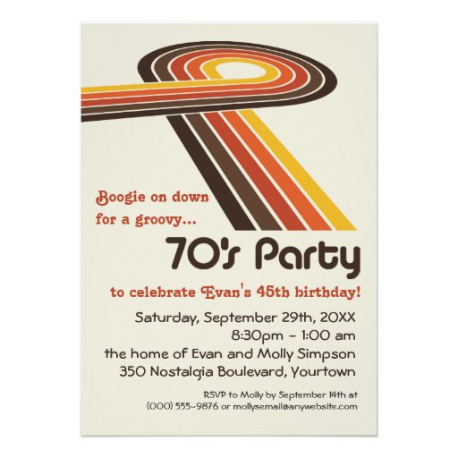 Groovy stripes 70s party invitations zazzle for 70 s wedding invitations