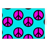 Groovy Teen Hippie Teal and Purple Peace Signs Stationery Note Card