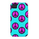 Groovy Teen Hippie Teal and Purple Peace Signs Case-Mate iPhone 4 Case