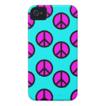 Groovy Teen Hippie Teal and Purple Peace Signs iPhone 4 Case-Mate Cases