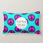 Groovy Teen Hippie Teal and Purple Peace Signs Pillow
