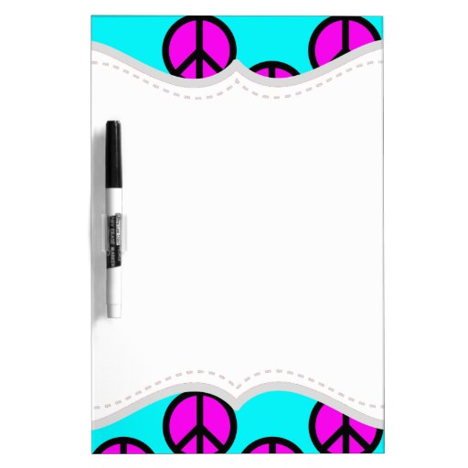 Groovy Teen Hippie Teal and Purple Peace Signs Dry Erase Boards