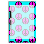 Groovy Teen Hippie Teal and Purple Peace Signs Dry Erase Whiteboard