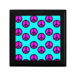 Groovy Teen Hippie Teal and Purple Peace Signs Gift Box