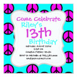 Groovy Teen Hippie Teal and Purple Peace Signs 13 Cm X 13 Cm Square Invitation Card