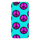 Groovy Teen Hippie Teal and Purple Peace Signs Cases For iPhone 5
