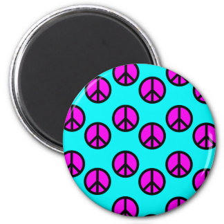 Groovy Teen Hippie Teal and Purple Peace Signs Refrigerator Magnets