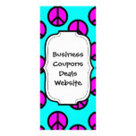 Groovy Teen Hippie Teal and Purple Peace Signs Rack Cards
