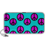 Groovy Teen Hippie Teal and Purple Peace Signs iPod Speaker
