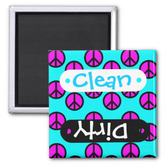Groovy Teen Hippie Teal and Purple Peace Signs Square Magnet
