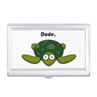 Groovy Turtle Dude Cartoon Business Card Holder