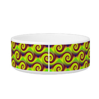 Groovy Yellow Brown Swirl Abstract Bowl