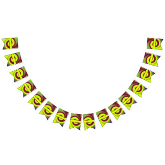 Groovy Yellow Brown Swirl Abstract Bunting