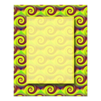 Groovy Yellow Brown Swirl Abstract Flyer