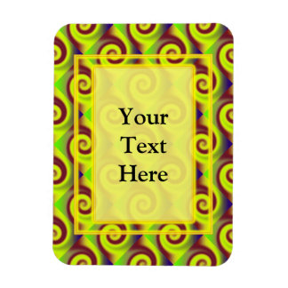 Groovy Yellow Brown Swirl Abstract Magnet