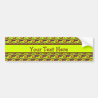Groovy Yellow Brown Swirl Abstract Pattern Bumper Sticker