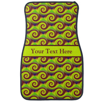Groovy Yellow Brown Swirl Abstract Pattern Car Mat