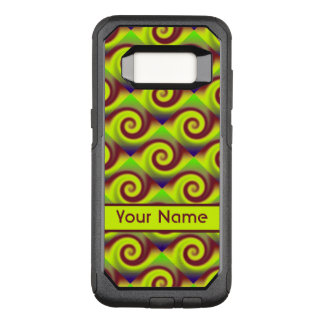 Groovy Yellow Brown Swirl Abstract Pattern OtterBox Commuter Samsung Galaxy S8 Case