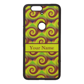 Groovy Yellow Brown Swirl Abstract Pattern Wood Nexus 6P Case