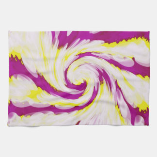 Groovy Yellow Brown Swirl Abstract Tea Towel