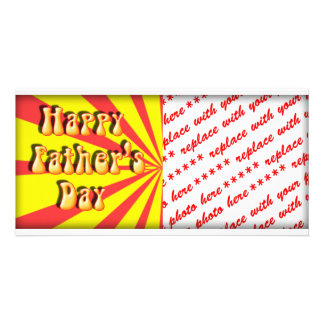 Groovy Yellow Red Retro Father s Day Photo Card
