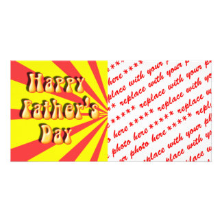 Groovy Yellow Red Retro Father s Day Picture Card