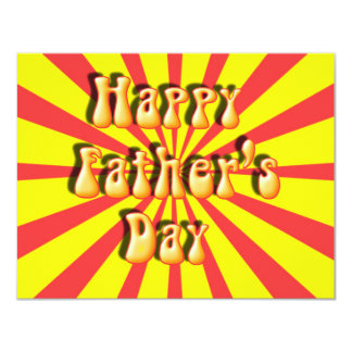 Groovy Yellow & Red Retro Father's Day 11 Cm X 14 Cm Invitation Card