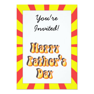 Groovy Yellow & Red Retro Father's Day 5x7 Paper Invitation Card