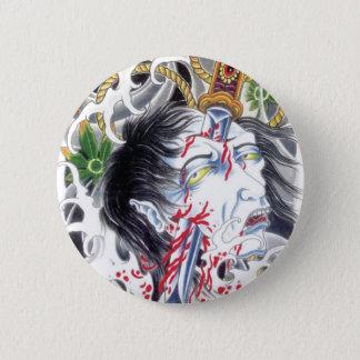 Grotesque Head & Sword 6 Cm Round Badge