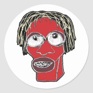 Grotesque Man Caricature Illustration Classic Round Sticker