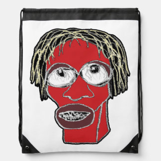 Grotesque Man Caricature Illustration Drawstring Bag