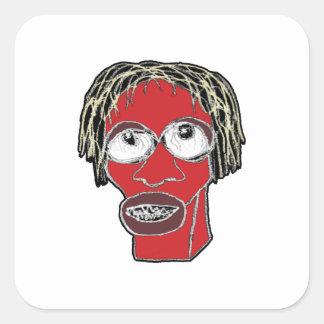 Grotesque Man Caricature Illustration Square Sticker