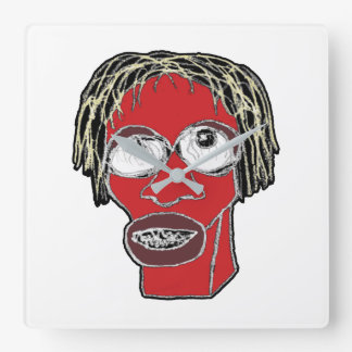 Grotesque Man Caricature Illustration Square Wall Clock