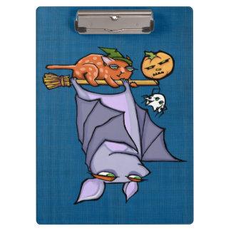 Grouchy Bat Cat Halloween Clipboard