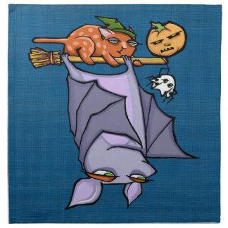 Grouchy Bat Cat Halloween Cloth Napkins (set of 4)